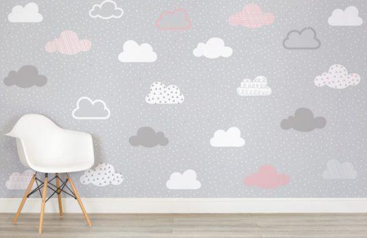 papierpeint-nuage-enfant-rose