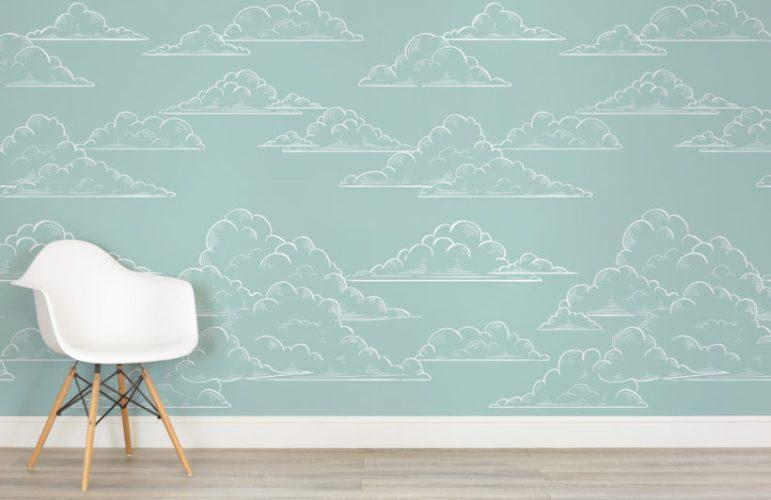 papierpeint-nuage-enfant-teal