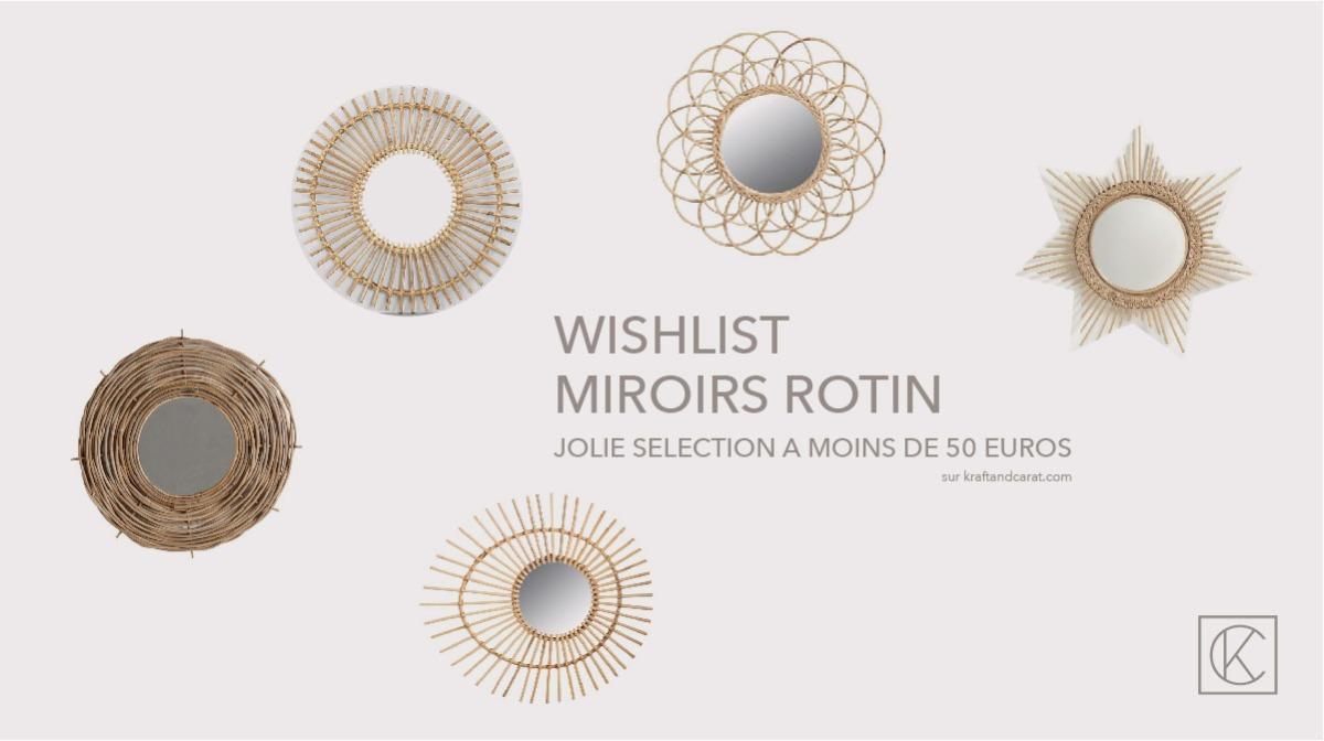 miroirs en rotin jolis et pas cher